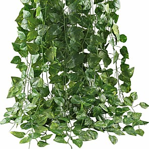 cheap Artificial Plants-Artificial Ivy Leaf Garland Plants Vine for Hanging Wedding Garland Fake Foliage Flowers Home Kitchen Garden Office Wedding Wall Decor 2 Pack