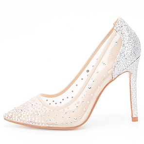 cheap Wedding Shoes-Women's Wedding Shoes Mesh Stiletto Heel Pointed Toe PU Spring & Summer Beige