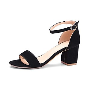 cheap Women's Sandals-Women's Sandals Chunky Heel Round Toe Suede Spring & Summer Black / Red / Gray
