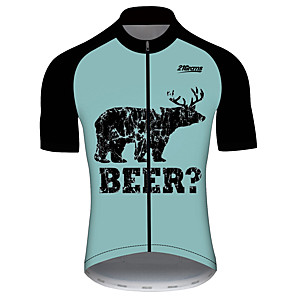cheap Cycling Jerseys-21Grams Men's Short Sleeve Cycling Jersey Spandex Polyester Green / Black Animal Oktoberfest Beer Bike Jersey Top Mountain Bike MTB Road Bike Cycling UV Resistant Breathable Quick Dry Sports Clothing