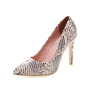 cheap Women's Heels-Women's Heels Animal Print Stiletto Heel Pointed Toe PU Classic Spring &  Fall Black / White / Yellow / Red / Party & Evening / 3-4 / Party & Evening
