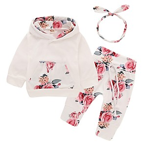 cheap Kids Collection Under $8.99-Baby Girls' Basic Floral Long Sleeve Regular Clothing Set White / Toddler