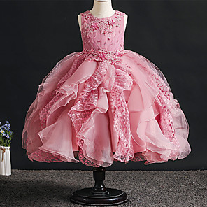 cheap Movie & TV Theme Costumes-Princess Dress Flower Girl Dress Girls' Movie Cosplay A-Line Slip Cosplay RedYellow / Red / Pink Dress Halloween Carnival Masquerade Tulle Polyester