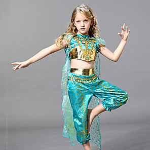 cheap Movie & TV Theme Costumes-Princess Jasmine Dress Girls' Movie Cosplay Cosplay Halloween Green Dress Halloween Carnival Masquerade Tulle Polyester
