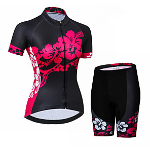 cheap Cycling Jersey & Shorts / Pants Sets-21Grams Women's Short Sleeve Cycling Jersey with Shorts Black / Red Floral Botanical Bike Clothing Suit Breathable Quick Dry Ultraviolet Resistant Sweat-wicking Sports Floral Botanical Mountain Bike