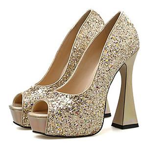 cheap Women's Heels-Women's Heels Chunky Heel Peep Toe Sequin Synthetics Sweet / Minimalism Summer / Spring & Summer Black / Gold / Silver / Wedding / Party & Evening / Party & Evening