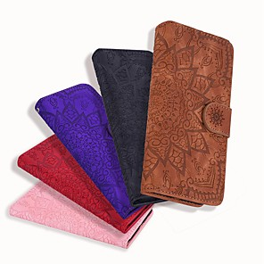 cheap iPhone Cases-Case For Apple iPhone 11 / iPhone 11 Pro / iPhone 11 Pro Max Wallet / Card Holder / Embossed Full Body Cases Solid Colored / Flower PU Leather For iPhone XR/XS Max/XS/X/8 Plus/7/6s Plus/6/5/5G/5S/SE