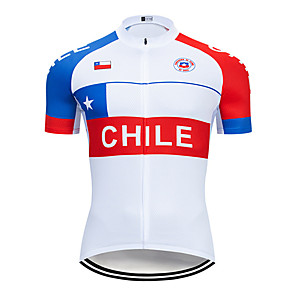 cheap Cycling Jersey & Shorts / Pants Sets-21Grams Men's Short Sleeve Cycling Jersey Red / White Chile National Flag Bike Jersey Top Mountain Bike MTB Road Bike Cycling UV Resistant Breathable Quick Dry Sports Clothing Apparel / Stretchy