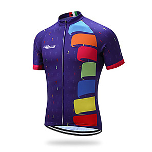 cheap Cycling Jerseys-21Grams Men's Short Sleeve Cycling Jersey Violet Geometic Bike Jersey Top Mountain Bike MTB Road Bike Cycling UV Resistant Breathable Quick Dry Sports Clothing Apparel / Stretchy / Sweat-wicking