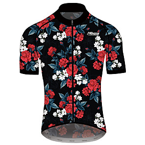 cheap Triathlon Clothing-21Grams Men's Women's Short Sleeve Cycling Jersey Spandex Polyester Black / Red Floral Botanical Bike Jersey Top Mountain Bike MTB Road Bike Cycling Quick Dry Sports Clothing Apparel / Race Fit