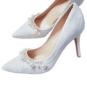 cheap Wedding Shoes-Women's Wedding Shoes Stiletto Heel Pointed Toe PU Spring &  Fall White / Red