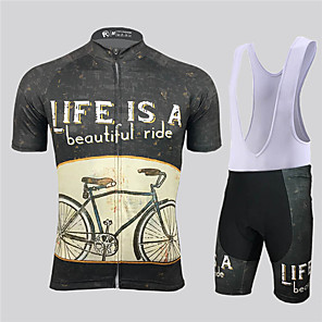 cheap Cycling Jersey & Shorts / Pants Sets-21Grams Men's Short Sleeve Cycling Jersey with Bib Shorts Black / Yellow Geometic Bike Clothing Suit UV Resistant Breathable 3D Pad Quick Dry Reflective Strips Sports Solid Color Mountain Bike MTB
