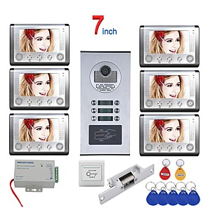 cheap Video Door Phone Systems-MOUNTAINONE SY801HIDPENO6 WIFI / Wired & Wireless 7 Inch 6 Apartment/Family Video Door Phone Intercom System RFID 1000TVL  Doorbell Camera NO Electric Strike Door Lock