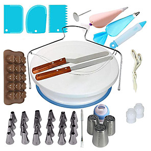 cheap Storage & Organization-One Set Cake Decorating Tools Icing Tips Turntable Pastry Bags Couplers Piping Nozzle Baking Tools Set for Cupcakes Cookies
