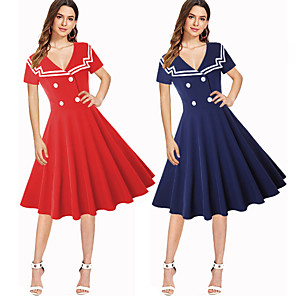 cheap Historical & Vintage Costumes-Audrey Hepburn Retro Vintage 1950s Wasp-Waisted Dress Women's Costume Red / Blue Vintage Cosplay Party Daily Wear Long Sleeve Midi / Stripes