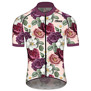 cheap Cycling Jerseys-21Grams Men's Women's Short Sleeve Cycling Jersey Fuchsia Floral Botanical Bike Jersey Top Mountain Bike MTB Road Bike Cycling Quick Dry Sports Clothing Apparel / Race Fit