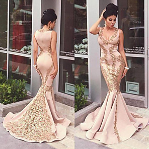 cheap Wedding Veils-Mermaid / Trumpet Sexy Pink Engagement Formal Evening Dress V Neck Sleeveless Court Train Satin with Appliques 2020