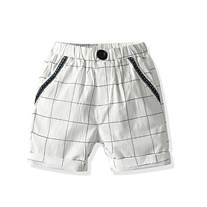 cheap Boys' Pants-Kids Toddler Boys' Basic Street chic Houndstooth Shorts Black