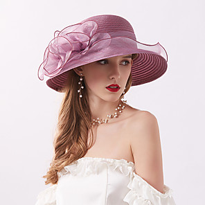 cheap Historical & Vintage Costumes-Queen Elizabeth Audrey Hepburn Retro Vintage Kentucky Derby Hat Fascinator Hat Women's Organza Costume Hat Gray & Black / Purple / Light Purple Vintage Cosplay Party Party Evening
