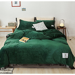 cheap Duvet Covers-Duvet Cover Sets 4 Piece Flannel Solid Colored Light Green Flocking Contemporary
