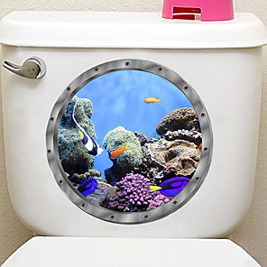 cheap Wall Stickers-Submarine fish Toilet Seat Wall Sticker Vinyl Art WC Pedestal Pan Cover decals Removable Bathroom Decals Home Decoration Wall Stickers