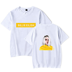 cheap Everyday Cosplay Anime Hoodies & T-Shirts-Inspired by Cosplay Billie Eilish Cosplay Costume T-shirt Cotton Fibre Print Printing T-shirt For Men's / Women's