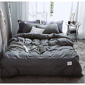 cheap Solid Duvet Covers-Duvet Cover Sets 4 Piece Linen / Cotton Solid Colored Red Printed Simple