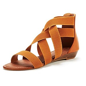 cheap Women's Sandals-Women's Sandals Summer Low Heel Peep Toe Roman Shoes Daily PU Black / Blue / Brown