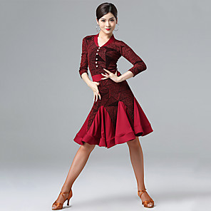 cheap Latin Dancewear-Latin Dance Dress Ruching Split Joint Women's Performance Long Sleeve Milk Fiber