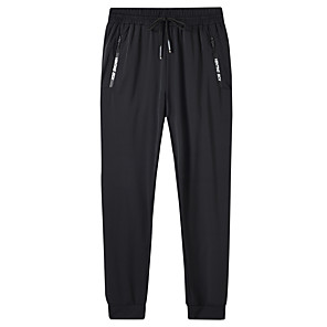 cheap Running & Jogging Clothing-Men's Track Pants Sports & Outdoor Athleisure Wear Bottoms Drawstring Elastane Fitness Running Jogging Training Breathable Quick Dry Soft Plus Size Sport Black Solid Colored / High Elasticity