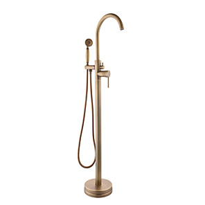 cheap Wedding Shoes-Floor-mounted Shower System Set Handshower Included Contemporary Chrome / Antique Brass Free Assemblement Ceramic Valve Bath Shower Mixer Taps