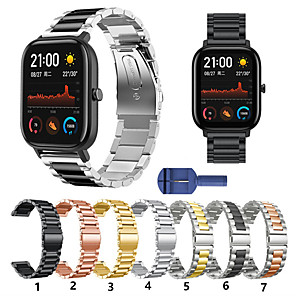 cheap Smartwatch Bands-For Amazfit Bip / Bip Lite / GTS / GTR 42MM  Metal Smart Watch Band Strap Stainless Steel