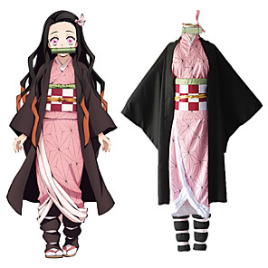 cheap Anime Costumes-Inspired by Demon Slayer: Kimetsu no Yaiba Kamado Nezuko Anime Cosplay Costumes Japanese Cosplay Suits Coat Underwear Kneepad For Women's / Rope / Sash / Ribbon