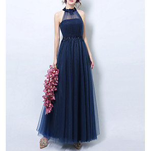 cheap Car Rear View Camera-A-Line Halter Neck Floor Length Lace Bridesmaid Dress with Appliques