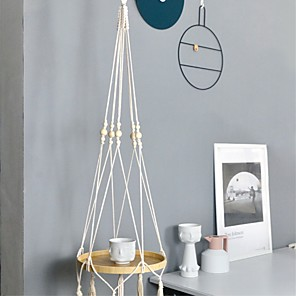 cheap LED String Lights-1 Piece  Creative Hanging Teapoy Nordic Style Bedside Storage Tray Bohemian Hand-knitted Macrame Decorative Bamboo Tray
