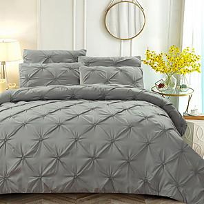 cheap Solid Duvet Covers-Duvet Cover Sets 3 Piece Linen / Cotton Solid Colored Black Printed Simple