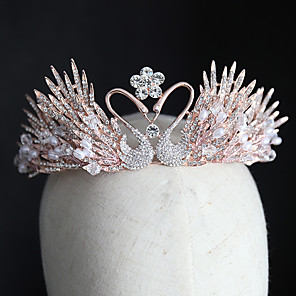 cheap Hair Jewelry-Women's Tiaras For Wedding Party Evening Prom Festival Art Deco Alloy Blushing Pink 1pc