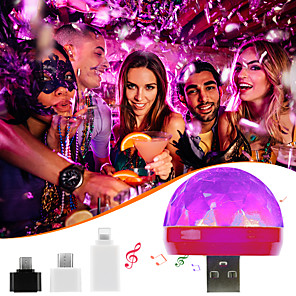 cheap Stage Lights-Mini USB LED Disco Stage Light Portable Family Party Magic Ball Colorful Light Bar Club Stage Effect Lamp for Mobile Phone 1pc