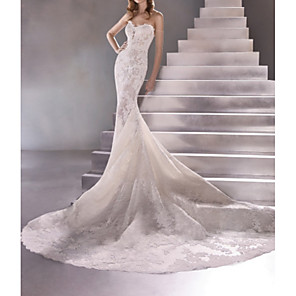 cheap Wedding Dresses-Mermaid / Trumpet Wedding Dresses Sweetheart Neckline Sweep / Brush Train Lace Sleeveless Sexy Plus Size with Lace 2020