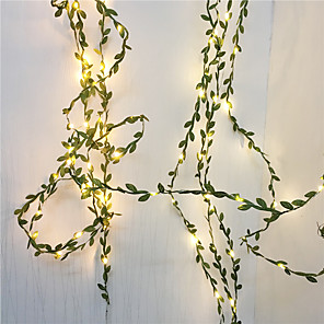 cheap LED String Lights-10M 100Leds Tiny Green Leaves Garland Fairy StriLight Led Copper Wire Lights For Wedding Christmas Home Party Decoration Warm White Lighting AA Battery Power (come without battery)
