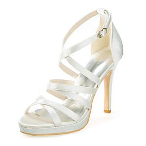 cheap Wedding Shoes-Women's Wedding Shoes Stiletto Heel Open Toe Sparkling Glitter Satin Classic Spring & Summer Black / White / Purple / Party & Evening