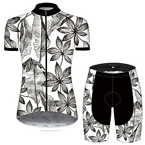 cheap Cycling Jersey & Shorts / Pants Sets-21Grams Women's Short Sleeve Cycling Jersey with Shorts Gray+White Leaf Floral Botanical Bike Clothing Suit Breathable 3D Pad Quick Dry Ultraviolet Resistant Sweat-wicking Sports Solid Color Mountain