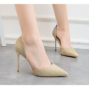 cheap Wedding Shoes-Women's Heels Stiletto Heel Pointed Toe PU Spring & Summer Gold / Silver / Pink