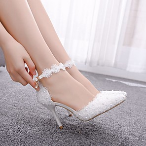 cheap Wedding Shoes-Women's Wedding Shoes Stiletto Heel Pointed Toe Imitation Pearl / Stitching Lace Lace / PU Sweet Spring &  Fall / Summer Pink / White
