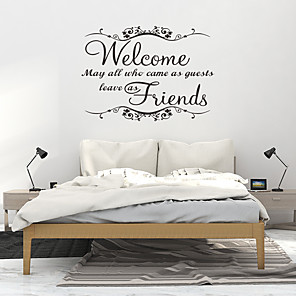 cheap Wall Stickers-PVC Wallpaper for Living Room New Fashion Welcome Friend Art Vinyl Mural Home Room Decor Wall Stickers