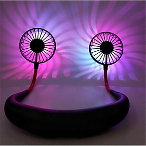 cheap Fans-Three Generations Lazy Halter Fan Portable Charging Sports Fan Aromatherapy Light Included Folding Kitchen Small Fan