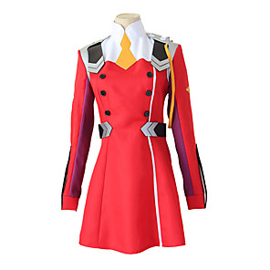 cheap Anime Costumes-Inspired by Darling in the Franxx 02 Zero Two Anime Cosplay Costumes Japanese Cosplay Suits Dress Wig For Women's