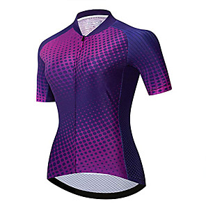 cheap Cycling Jerseys-21Grams Women's Short Sleeve Cycling Jersey Purple Polka Dot Bike Jersey Top Mountain Bike MTB Road Bike Cycling UV Resistant Breathable Quick Dry Sports Clothing Apparel / Stretchy / Race Fit