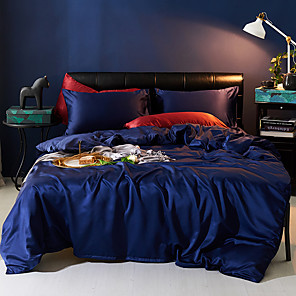 cheap Solid Duvet Covers-Duvet Cover Sets 4 Piece Polyester / Viscose Solid Colored Dark Blue Printed Simple