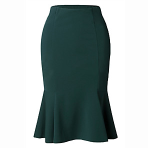 cheap Men's Bags-Women's Daily Wear / Office Basic Bodycon / Trumpet / Mermaid Skirts - Solid Colored Ruffle Black Green S M L